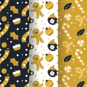 Black & golden christmas pattern collection