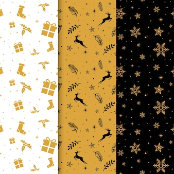 Black and golden christmas patterns