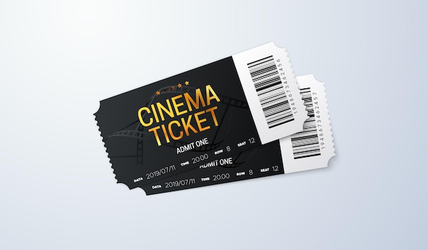 Black and golden cinema tickets on white background