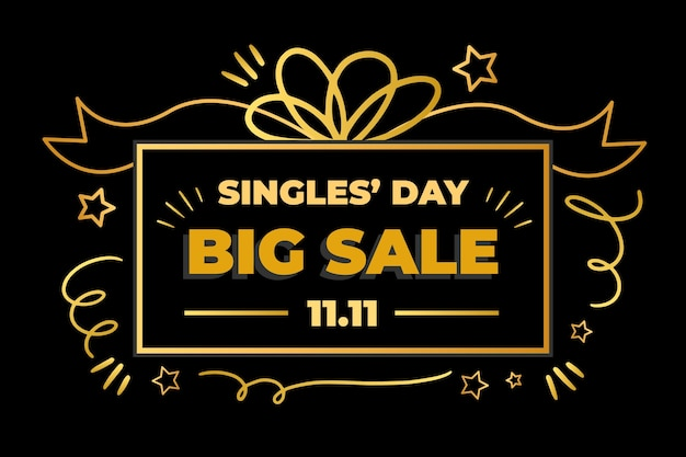 Black and golden design singles' day