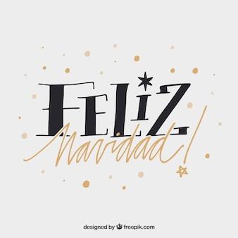 Sfondo nero e dorato feliz navidad lettering