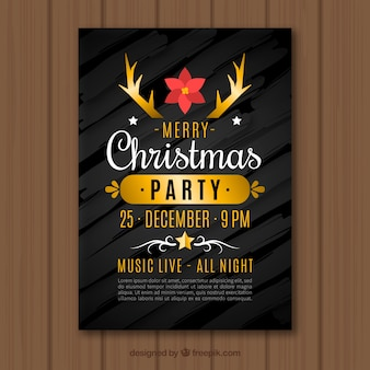 Black and golden flyer for a christmas party