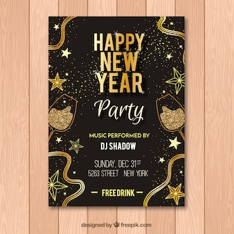 Black and golden flyer for new year party