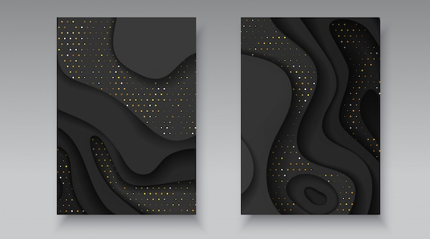 Black and golden halftone effect pattern with wavy layers. abstract realistic paper cut shapes texture. 3d luxury relief background flyer brochure banner card cover design template vector illustration
