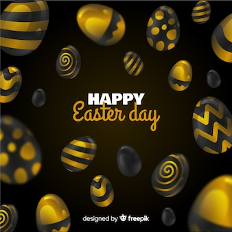 Black and golden happy easter day background