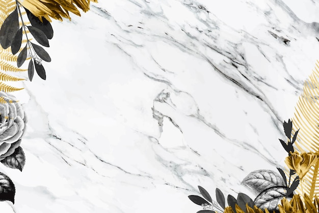 Black and golden leaf border frame on white marble background