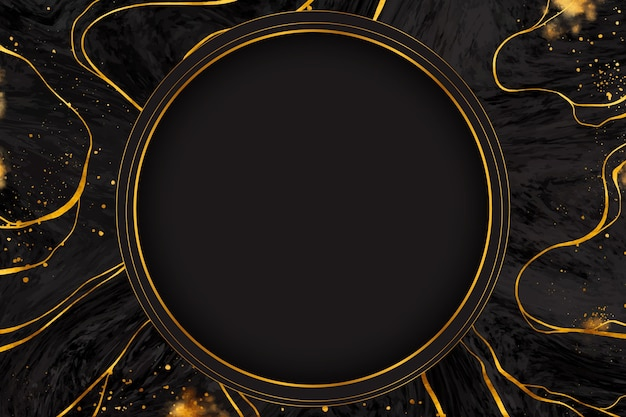 Black and golden marble frame Free Vector
