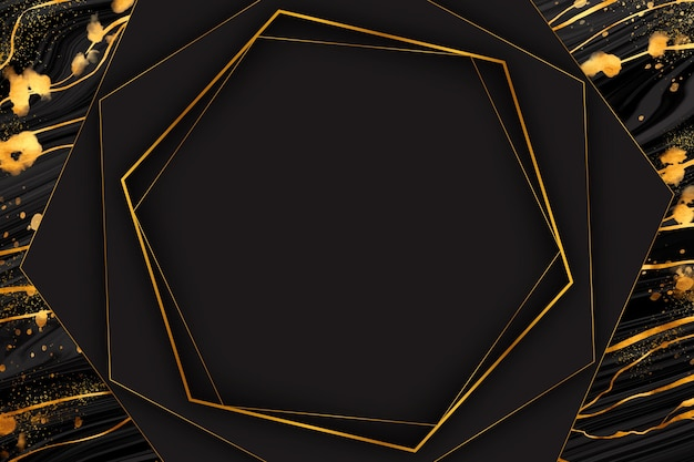 Black and golden marble frame