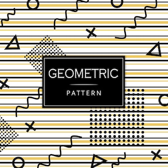 Black and golden memphis geometric pattern