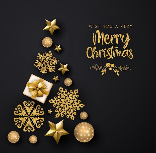 Black and golden merry christmas greeting card