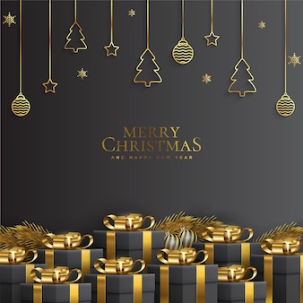 Black and golden merry christmas and new year card with realistic decoration