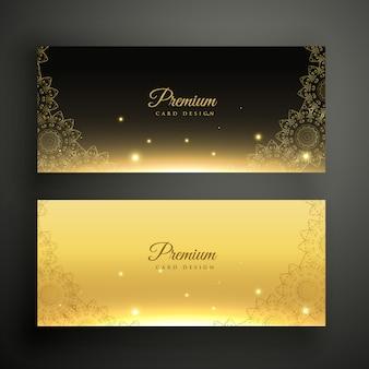 Striscioni ornamentali neri e dorati Vettore gratuito