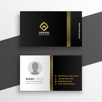 Black golden premium business card design