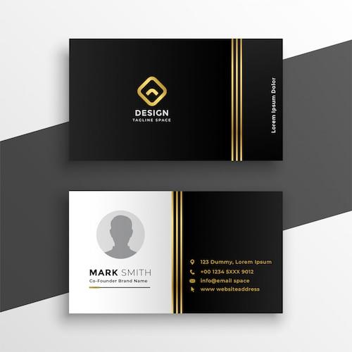 Black golden premium business card design