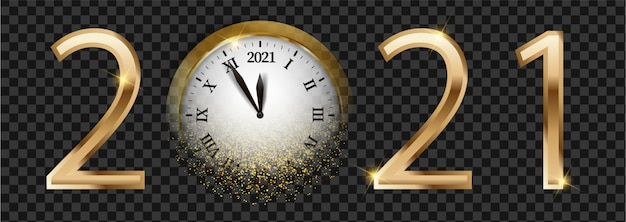 Black and golden shiny 2021 new year web banner. card with snow, reflection and blurred round clock