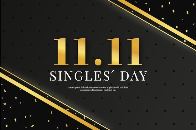 Black and golden singles day concept