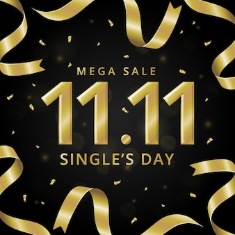 Black and golden singles day theme