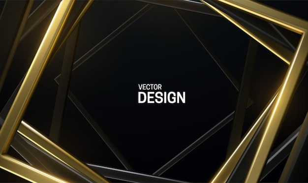 Black and golden square frames abstract background