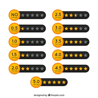 Black and golden star rating