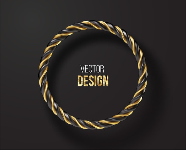 Black and golden striped round frame isolated on black background. vector illustration eps10