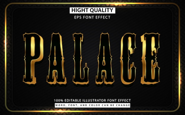 Black and golden style editable text effect