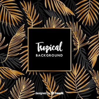 Black and golden tropical leaves background