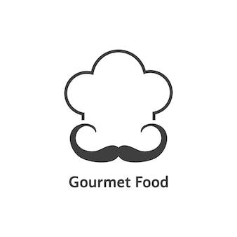 黒のグルメ食品のロゴ。帽子、レトロなバッジ、趣味、エレガント、衣装、スタンプ、高級料理のコンセプト。白い背景で隔離。フラットスタイルトレンドモダンシェフロゴデザインベクトルイラスト