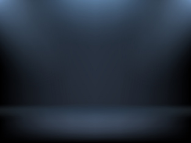 Black gradient background, spotlights illumination