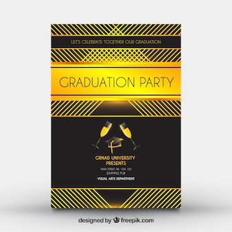 Black graduation party leaflet with golden forms