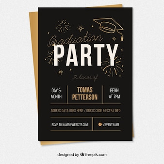 Black graduation party poster with golden elements