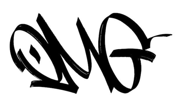 黒の落書きタグomgレタリングマーカーインクペイント