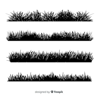 Black grass border silhouettes collection