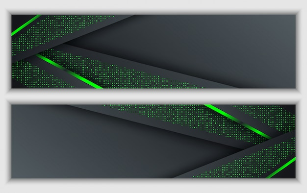 Black green abstract corporate banner with glowing neon glitter technology background