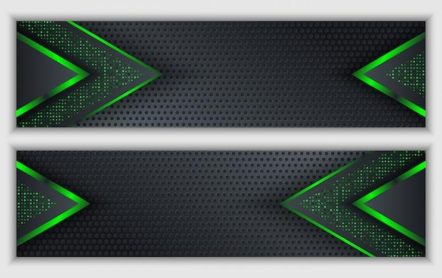 輝くネオンキラキラ技術の背景を持つブラックグリーン抽象的な企業バナー Premiumベクター