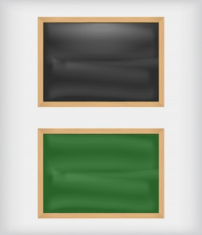 Black and green blank chalkboards