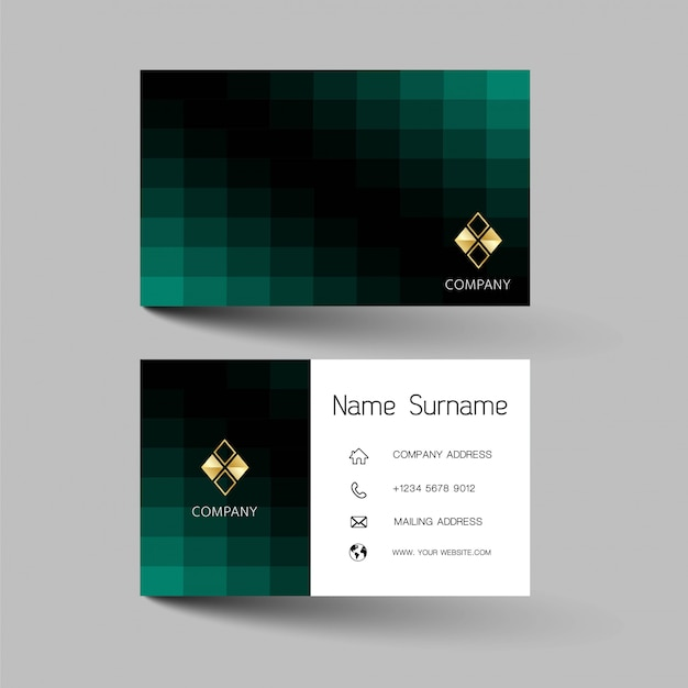 Black and green business card design.