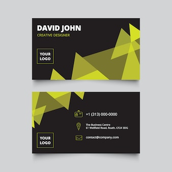 Black and green business card