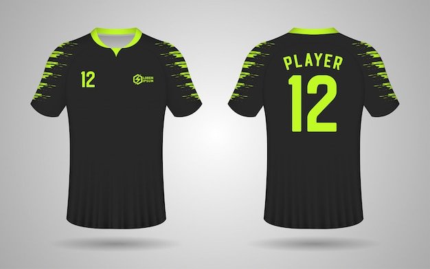 Premium Vector | Black and green color football kit design template