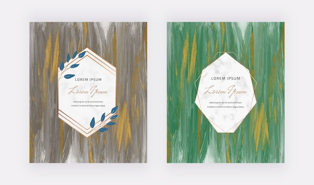 Black and green with gold glitter and geometric frame wedding invitation cards