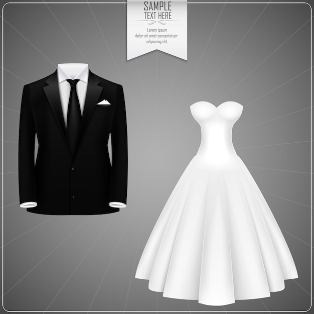 Black groom suits and white bridal gown