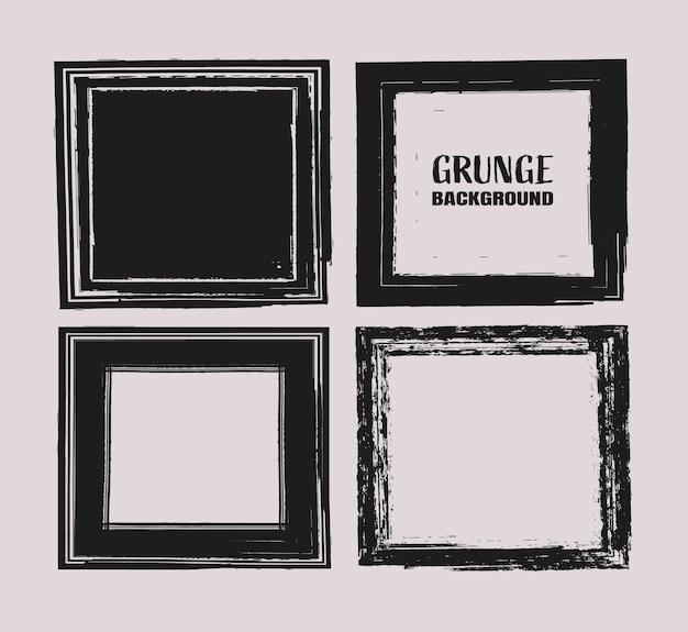 Black grunge banner collection