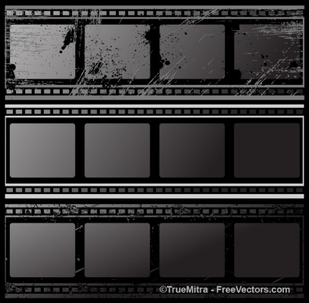 Black grunge film strips