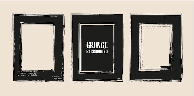 Black grunge frame set