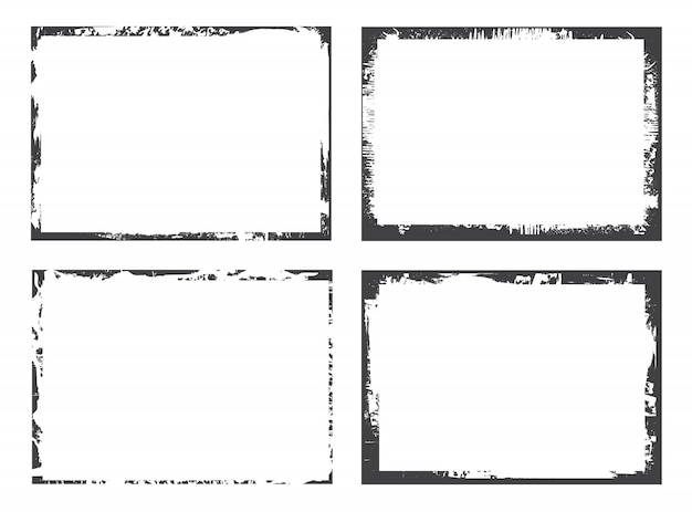 Black grunge frames set