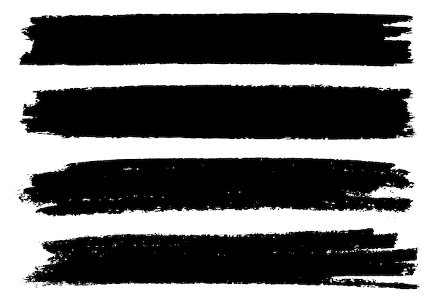 Black grunge paint brush banners