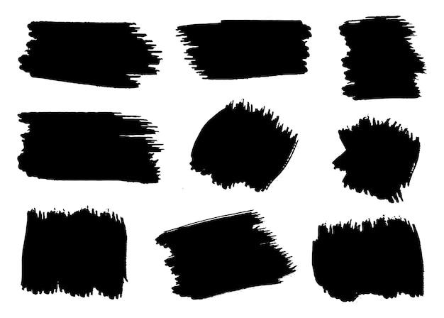 Black grunge paint strokes