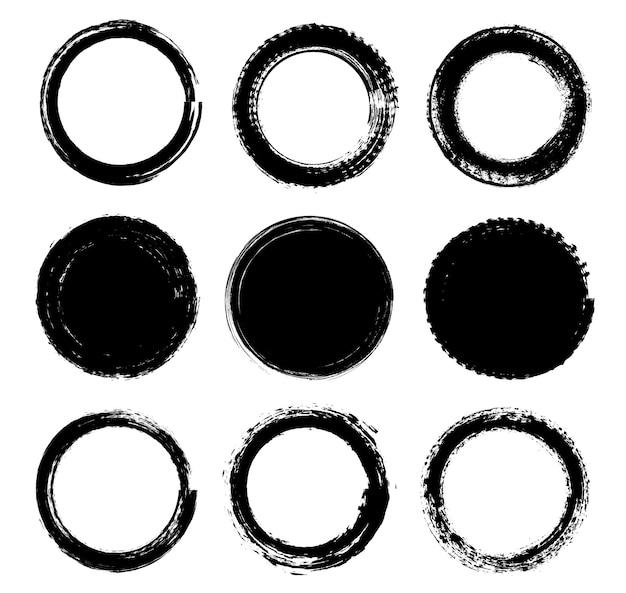 Black grunge round frames set