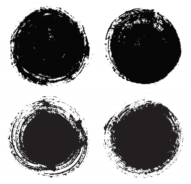 Black grunge round shapes