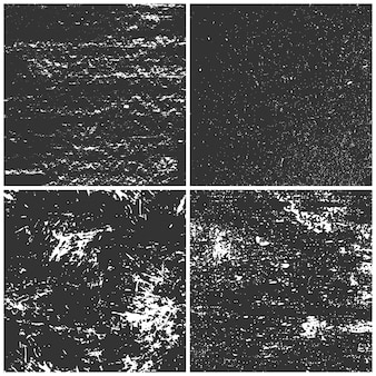 Black grunge textures set. distressed effect dark backgrounds