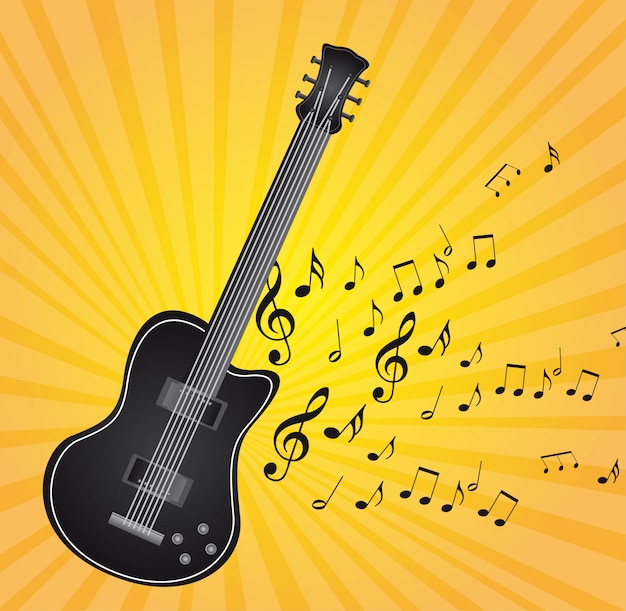 Black guitar with music notes over yellow background vector